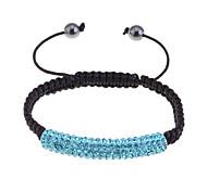 Fashion Handmake Full Crystals Bar Braided Bracelet