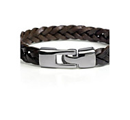 Men's Black Cow Leather Weave Bracelet