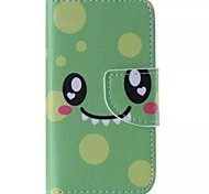 Green Smiling Face Painted PU Phone Case for iphone4/4S
