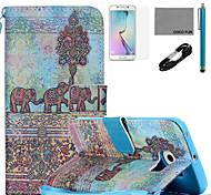 estojo de couro de coco padrão pintura fun® pu com cabo usb v8, flim, caneta e stand para Samsung Galaxy S6 borda