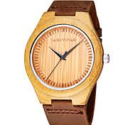 jyy®ultra-fino populares de bambu originais relógio de forma das mulheres relógios de madeira de couro genuíno masculino relógio banda