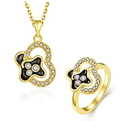 Fashion Diamond Heart Multicolor Opal Gold-Plating Twinset(Gold,Rose Gold,White)(2pcs)