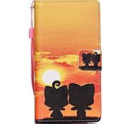 New Sunset Lanyard PU Leather Material Flip Card Cell Phone Case for Huawei P8 Lite