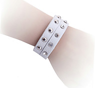 Punk Style 2 Layers Rivet Genuine Leather  With Crystals Bracelet
