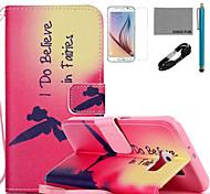 estojo de couro padrão de coco fadas fun® pu com cabo usb v8, flim, caneta e stand para Samsung Galaxy S6