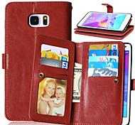 luxo pu tampa de couro tampa 9 portadores de cartão caso carteira para samsung nota galáxia 3 / nota 4 / nota 5 (cores sortidas)