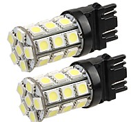 2* T20 3157 4057 Car Tail Backup Turn Signal Bulb 5050SMD Pure White 27 LED Light 12V