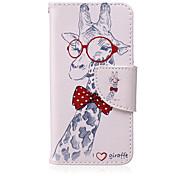 motif verres girafe PU cas de support de la carte de matériel pour ipod touch 5/6