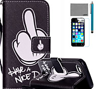 LEXY® Have a Nice day Pattern PU Full Body Leather Case with Screen Protector and Stylus for iPhone 5C