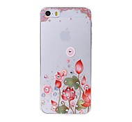 Latest  Lotus Pattern Swarovski Diamond High Quality Laser Relief Touch Phone Case for iPhone 5 / 5S