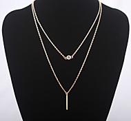 Fashion Simple Slender Bar Large Diamond Necklace