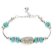 Vintage Bohemian Style Silver Plated Turquoise Bracelet