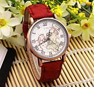 Ladies' Map Pattern Round Dial PU Band Fashion Analog Quartz Wrist Watch Cool Watches Unique Watches