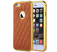 For iPhone 6 Case / iPhone 6 Plus Case Plating / Embossed Case Back Cover Case Solid Color Hard Genuine LeatheriPhone 6s Plus/6 Plus /