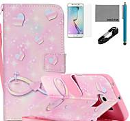 Coco fun®-de-rosa Teste padrão romântico estojo de couro pu com cabo usb v8, flim, caneta e stand para Samsung Galaxy S6 borda
