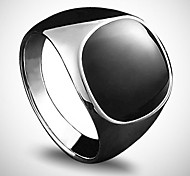 Fashion Men'S Oil Drip Black Stone  Silver Plating Ring