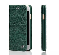 Crocodile Style Top Grade Genuine Cow Leather Wallet Stand Case for iPhone 6S