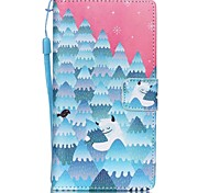 New  Snow Strange Lanyard PU Leather Material Flip Card Cell Phone Case for Huawei P8 Lite