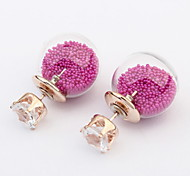 Transparent Glass Hollow Beads Dual European And American Stars Earrings