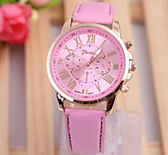 Woman's Watches Fashion Temperament Type Double Literal PU Strap Watch
