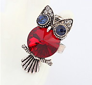 Europe And America Exaggerated Personality Ruby-jewelry Owl Ring