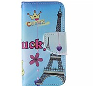 Cartoon Eiffel Tower Pattern Cell Phone Leather For iPhone 5/5S