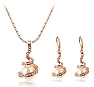 High Quality Crystal Pearl Pendant Jewelry Set Necklace Earring Gold Plated (Assorted Color)