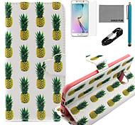 Coco fun® cabo padrão abacaxi padrão de couro pu caso v8 usb, flim, caneta e stand para Samsung Galaxy S6 borda