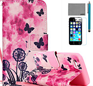 LEXY® Butterfly And Dandelion Pattern PU Full Body Leather Case with Screen Protector and Stylus for iPhone 5C