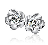 WOOKER Stud Earring Female Hypoallergenic 925 Silver Flash Lucky Four Leaf Earrings Silver Jewelry