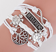Multilayer Best Friend & Life Tree Weave Bracelet,White inspirational bracelets