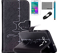 COCO FUN® Cat Cardiogram Pattern PU Leather Case with V8 USB Cable, Flim and Stylus for Samsung Galaxy A3