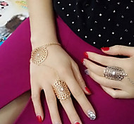Lady's Fashion Hollow Out Inlay Diamond Flower Alloy Bracelets With Rings