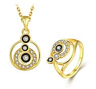 Fashion Diamond Calabash Multicolor Jewelry Gold-Plating Twinset(Gold,Rose Gold,White)(2pcs)