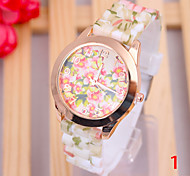 Woman's Watches Hot Leisure And Pastoral Style Silicone Printed Quartz Watch