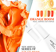 Azure Beauty Orange Boom Series Orange 5Pcs Color Charming DIY Design Nail Art Salon Design Gel Polish