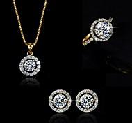 High Quality Crystal Zircon Pendant Jewelry Set Necklace Earring Gold Plated (Assorted Color)