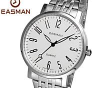 easman marque montres à quartz hommes inoxydable mode des montres-bracelets en acier complète montre blanche numéro classique