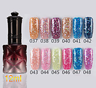 1PCS Sequins UV Color Gel Nail Polish No.37-48Soak-off(12ml,Assorted Colors)