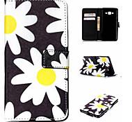 Black White Chrysanthemum Patten PU Material Flip Bracket  Case for Samsung Galaxy J1 Ace/J2/On5/On7