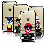 Fashion Cute Cat Dog TPU Rubber Acrylic Frame Hard Phone Back Cover for iPhone6/iPhone6s
