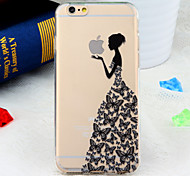 Butterfly Dress Girl Pattern TPU Soft Back Cover for iPhone 6s 6 Plus