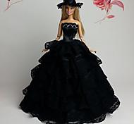 Fantasias de Filme e Tema de TV Vestidos Para Barbie Doll Preto Vestidos