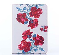 Red Peony Pattern PU Leather Full Body Case with Stand for iPad Air 2/iPad 6