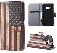 bandera americana retro de cuero de la PU de la carpeta del tirón magnético caso de cuerpo completo con soporte para Samsung Galaxy Ace j1