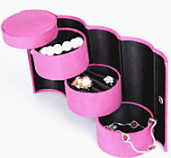 Fashiom Women Pink Jewel Case Cylinder Box Jewelry Box Gift(1PC)