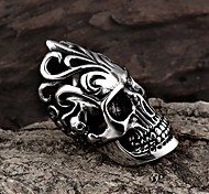 Ring Skull Fashion Halloween / Party Jewelry Steel Women Statement Rings 1pc,One Size Black