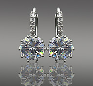 Women's Fashion Silver Plated Crystal Flower Pattern Zircon Earrings