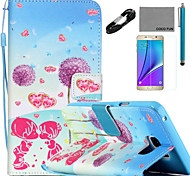 COCO FUN® Dandelion Lover Pattern PU Leather Case with V8 USB Cable, Flim and Stylus for Samsung Galaxy Note 5