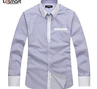 Lesmart Hommes Col de Chemise Manche Longues Shirt et Chemisier Gris - SL13614